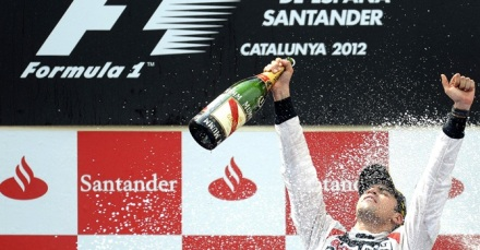 Maldonado celebrating his win in Spain